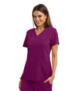 3 Pocket V-Neck Top with Laced Sleeve Detail